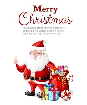 Boże narodzenie święty mikołaj z kciukiem do góry gest z czerwonym kapeluszem i prezentami charakter ilustracja na białym tle z miejscem na tekst