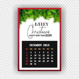 Boże narodzenie szczęśliwego nowego roku 2019 kalendarz grudnia