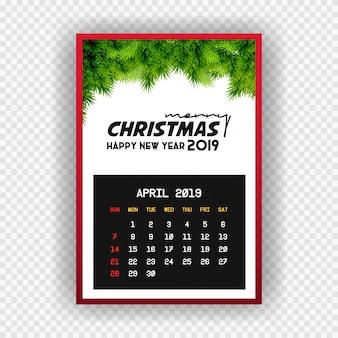 Boże narodzenie szczęśliwego nowego roku 2019 kalendarz kwietnia