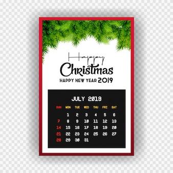 Boże narodzenie szczęśliwego nowego roku 2019 kalendarz lipca