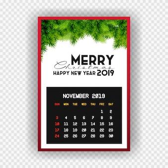 Boże narodzenie szczęśliwego nowego roku 2019 kalendarz listopada