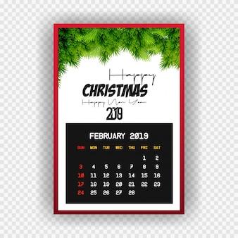 Boże narodzenie szczęśliwego nowego roku 2019 kalendarz lutego