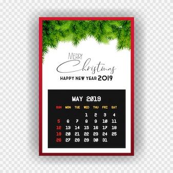 Boże narodzenie szczęśliwego nowego roku 2019 kalendarz maja