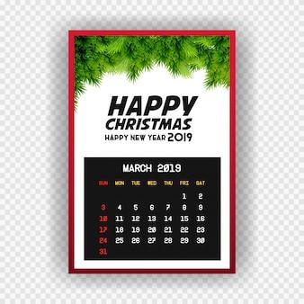 Boże narodzenie szczęśliwego nowego roku 2019 kalendarz marca