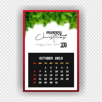 Boże narodzenie szczęśliwego nowego roku 2019 kalendarz października