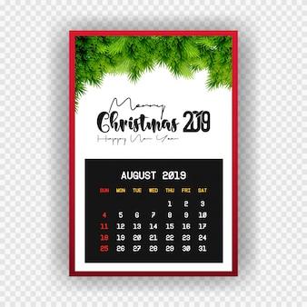 Boże narodzenie szczęśliwego nowego roku 2019 kalendarz sierpnia