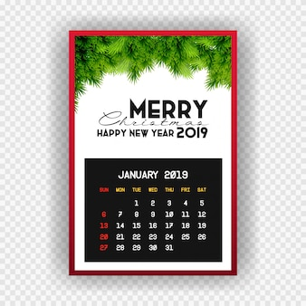 Boże narodzenie szczęśliwego nowego roku 2019 kalendarz stycznia