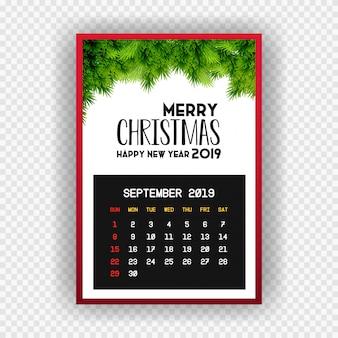 Boże narodzenie szczęśliwego nowego roku 2019 kalendarz września