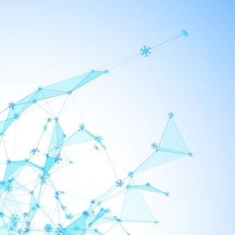 Boże narodzenie technologia tło z płatki śniegu na siatce lodu trójkątne