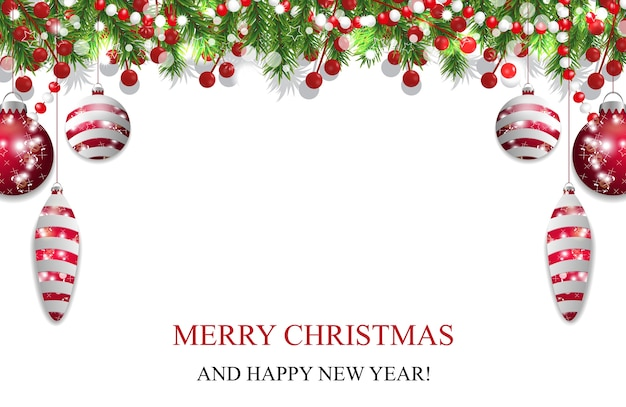 Boże narodzenie tło, dekoracja nowego roku z gałęzi jodły