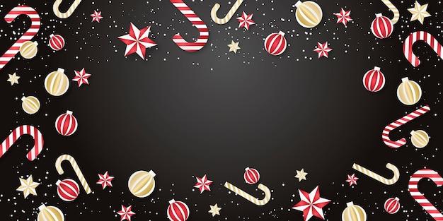 Boże narodzenie tło. obramowanie elementów świątecznych z bombkami, gwiazdkami i cukierkami.