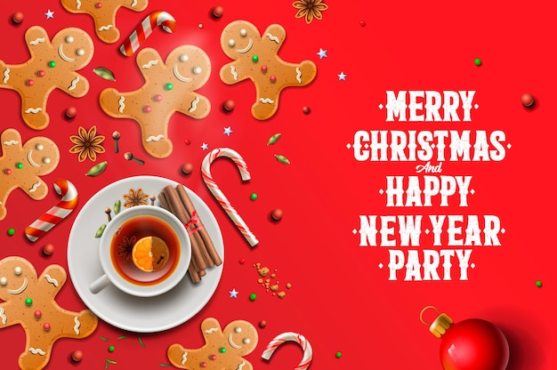 Boże narodzenie tło, pierniki, laski cukierki i gwiazdki anyżu r. na czerwonym tle. wesołych świąt i szczęśliwego nowego roku