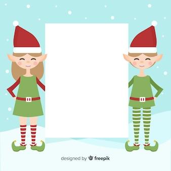 Boże narodzenie tło płaskie elfy