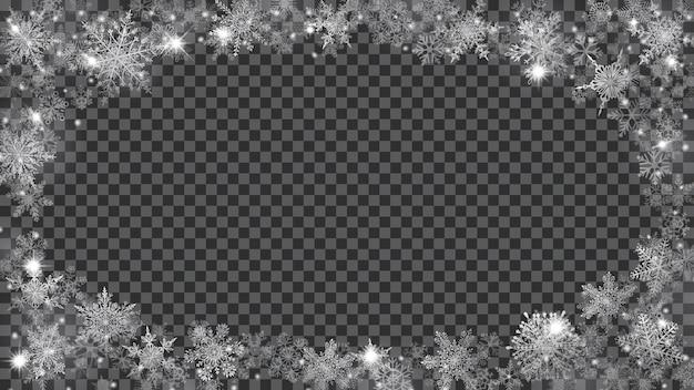Boże narodzenie tło. ramka z półprzezroczystych płatków śniegu w kształcie elipsy w białych kolorach na przezroczystym tle. przezroczystość tylko w pliku wektorowym