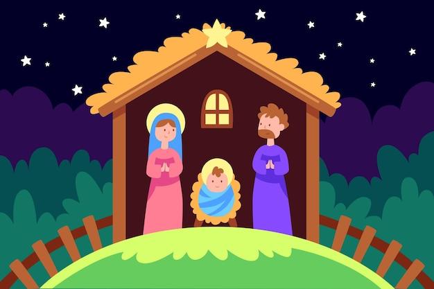 Boże narodzenie tło w płaskiej konstrukcji