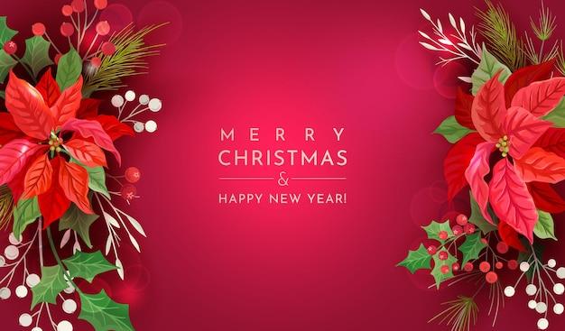 Boże narodzenie tło wektor. świąteczna wyprzedaż, wakacyjny baner internetowy. zaprojektuj zimową poinsecję kwiatową ozdobę, szablon powitania strony, holly berry, rama ilustracja jemioła, ulotka noworoczna 2021, okładka