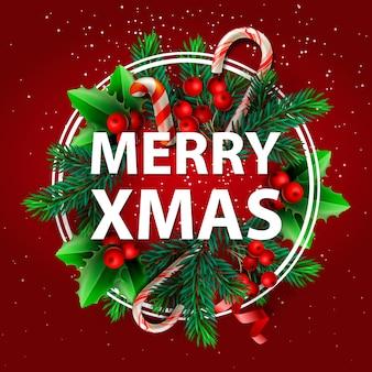 Boże narodzenie tło. wesołych świąt bożego narodzenia, baner świąteczny. zaprojektuj ozdoby świąteczne zielone gałęzie sosny i jagody ostrokrzewu.