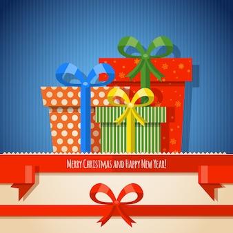 Boże narodzenie tło wstążka z prezentami