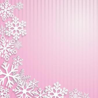 Boże narodzenie tło z białymi płatkami śniegu na różowym tle w paski