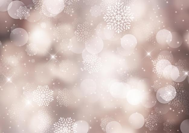 Boże narodzenie tło z bokeh światła i projekt płatki śniegu