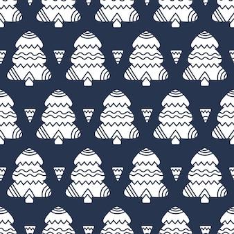 Boże narodzenie tło z drzew ozdobnych holiday monochromatyczny wzór