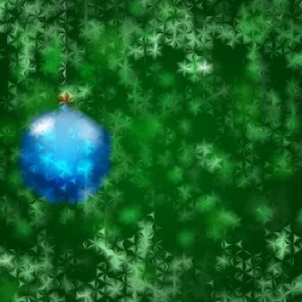 Boże narodzenie tło z niebieską bombką i zielonymi płatkami śniegu za karbowanym szkłem