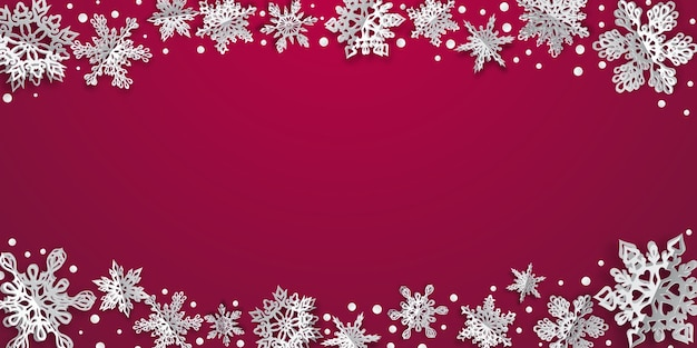 Boże narodzenie tło z objętościowymi płatkami śniegu z miękkimi cieniami na szkarłatnym tle