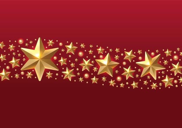 Boże narodzenie tło z obramowaniem wykonane z gwiazd i płatków śniegu wyłącznik złota foliażyczenia bożonarodzeniowe