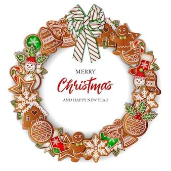 Boże narodzenie tło z okrągłymi piernikami rama świąteczny wieniec z ciasteczkami i kokardą