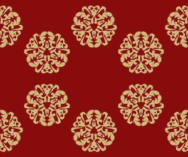 Boże narodzenie tło z okrągłymi wzorami bez szwu wzorów czerwone tło ze złotym płatkiem śniegu