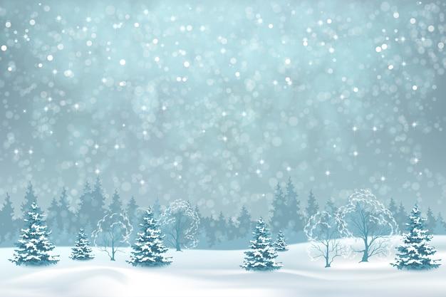 Boże narodzenie tło z opadami śniegu