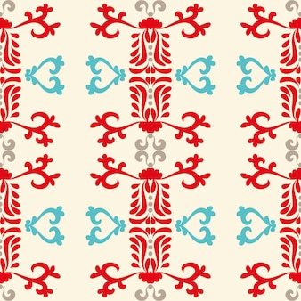 Boże narodzenie tło z ornamentami bez szwu wzorów czerwony niebieski wzór na beżowym tle