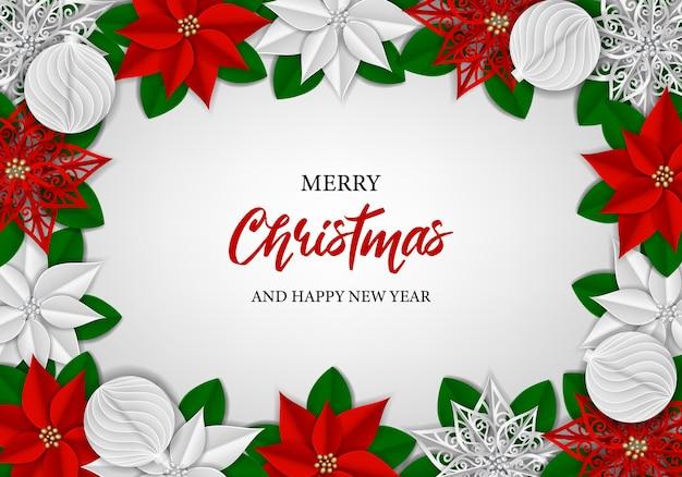 Boże narodzenie tło z papierową poinsecją i kulkami świąteczna ramka z papierowymi dekoracjami