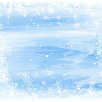 Boże narodzenie tło z płatkami śniegu na projekt akwareli