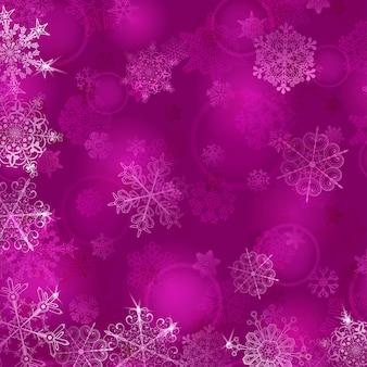 Boże narodzenie tło z płatkami śniegu w fioletowych kolorach
