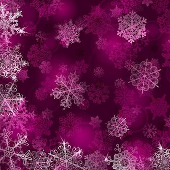 Boże narodzenie tło z płatkami śniegu w różowych kolorach