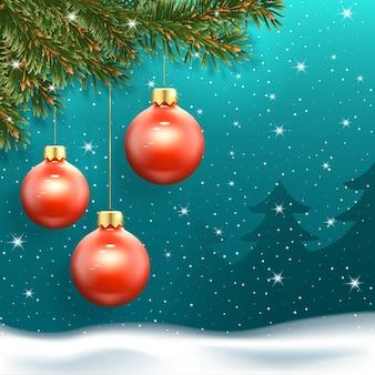 Boże narodzenie transparent z trzema czerwonymi kulkami, padający śnieg i jodły w tle.
