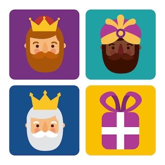 Boże narodzenie trzy mężczyźni królowie i celebracja pudełko