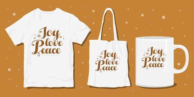 Boże narodzenie typografia napis t shirt projekt merchandise