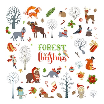 Boże narodzenie w lesie. zestaw zimowych drzew i zwierząt leśnych w czapce mikołaja i szaliku. łoś, niedźwiedź, lis, wilk, jeleń, sowa, zając, wiewiórka, szop, jeż, ptaki, pudełka na prezenty i bombki.