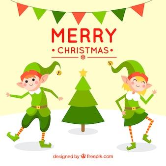 Boże narodzenie w tle z szczęśliwymi elfami