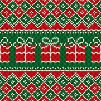 Boże narodzenie wakacje bez szwu dzianiny wzór z obecnym pudełkiem. schemat projektowania wzorów swetra z dzianiny wełnianej lub haftu krzyżykowego.