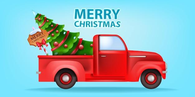 Boże narodzenie wakacje czerwony samochód ilustracja wektor xmas retro ciężarówka pocztówka zdobiona sosna