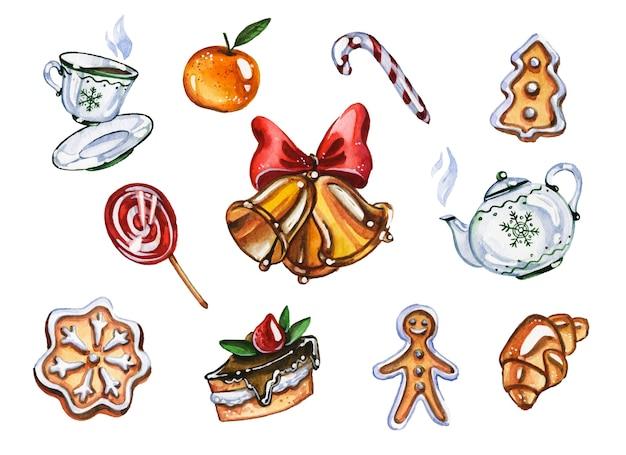 Boże narodzenie wakacje słodycze ręcznie rysowane zestaw ilustracji akwarela. herbata i ciasto, cukierki i mandarynka na białym tle. jingle bell and xmas yummyes collection aquarelle painting