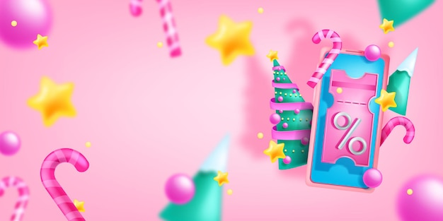 Boże narodzenie wakacje wyprzedaż transparent wektor świąteczny rabat tło ekran smartfona kupon 3d