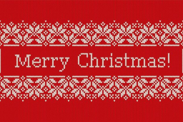 Boże narodzenie wakacje wzór dziania z płatki śniegu i pozdrowienie tekst wesołych świąt. bezszwowe tło z dzianiny