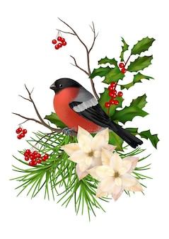 Boże narodzenie wektor dekoracyjny skład. ptak, kwiaty poinsecji z gałązką jarzębiny i ostrokrzewu