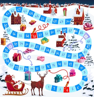 Boże narodzenie wektor gra planszowa lub puzzle z kreskówek santa i ferii zimowych village. gra planszowa w kości, od początku do końca ścieżki z ponumerowanymi krokami, pomóż mikołajowi i reniferom dostarczyć świąteczne prezenty