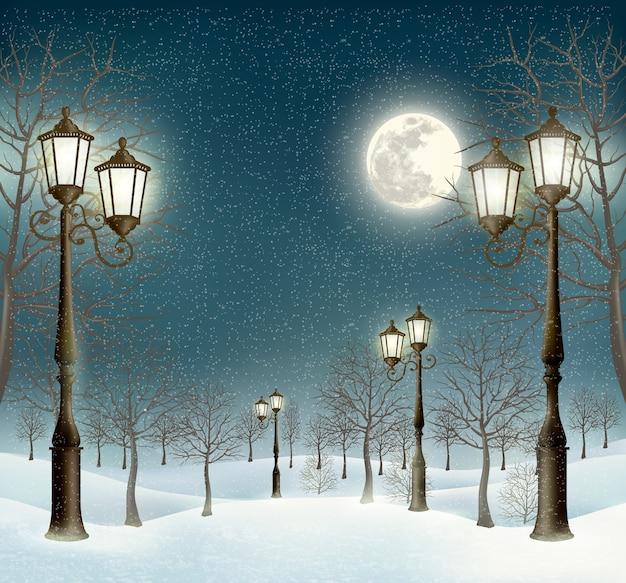 Boże narodzenie wieczór zimowy krajobraz z latarniami.