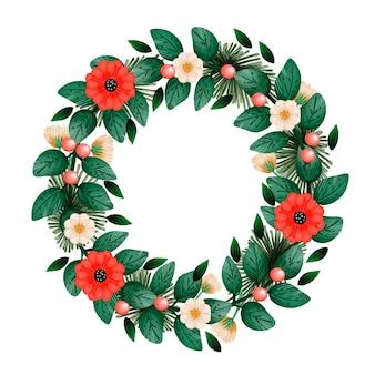 Boże narodzenie wieniec ilustracja z kwiatami w stylu przypominającym akwarele